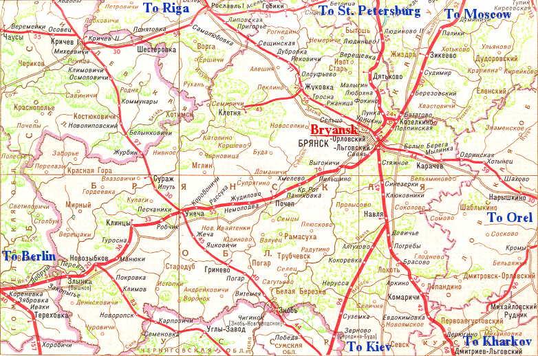 Карта железных дорог области