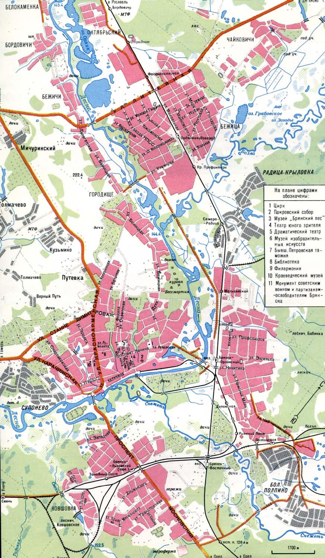 Россия, Брянская обл. электронная карта города Брянск 262 kB.